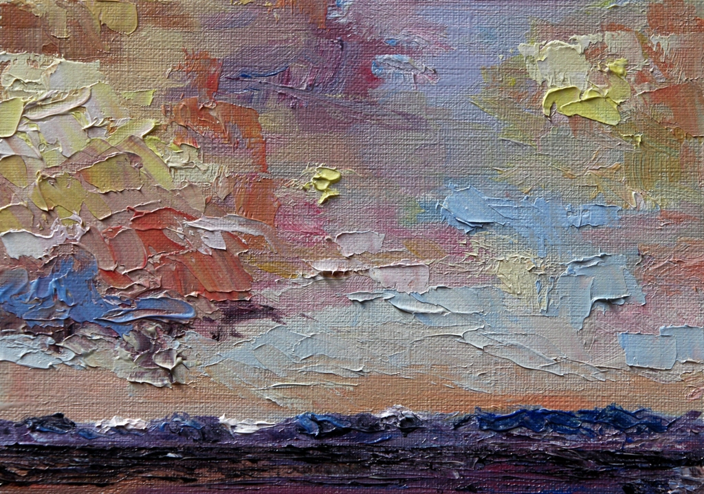 Storm Clouds over Strait of Georgia postcard size oil on paper by Terrill Welch 2012_11_29 008