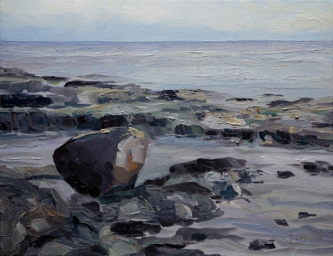 Reef Bay morning experienced Dec 7 2012 11 x 14 inch oil on canvas by Terrill Welch 2012_12_09 069