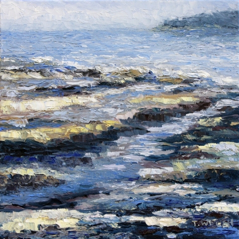 At the Beach another time resting 12 x 12 inch oil on canvas by Terrill Welch 2013_01_02 050