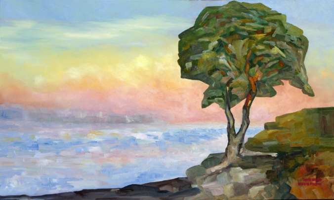 Evening and the Arbutus Tree in progress 36 x 60 inch oil on canvas by Terrill Welch 2013_01_03 017