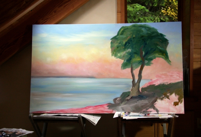 Evening and the Arbutus Tree in progress by Terrill Welch 2012_11_23 009