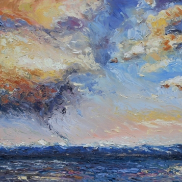 Evening Thunderclouds over the Strait of Georiga 20 x 20 inch oil on canvas by Terrill Welch 2012_12_20 025