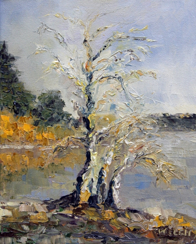 Pear Trees in winter first light resting 8 x 10 inch oil o canvas by Terrill Welch 2013_01_02 040