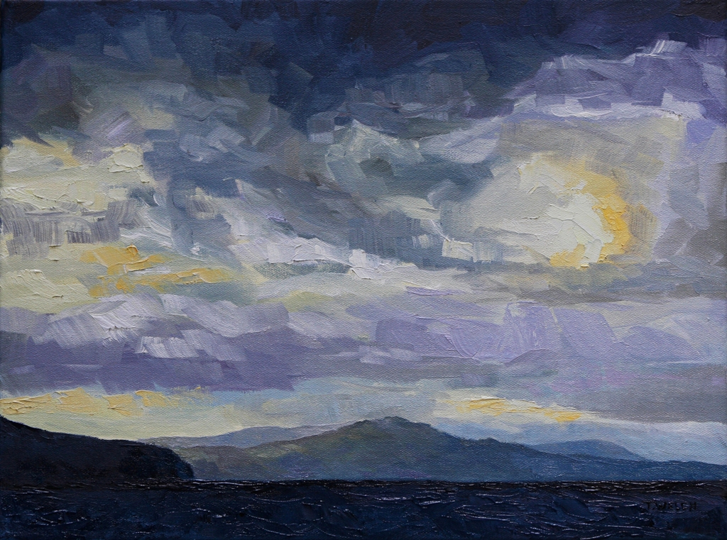 Winter afternoon west coast ferry home  12 x 16 inch oil on canvasby Terrill Welch 2013_01_25 092