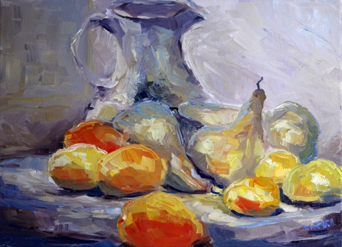 Wine vase pears lemons and blood oranges resting 12 x 16 inch oil on canvas by Terrill Welch 2013_02_09 072
