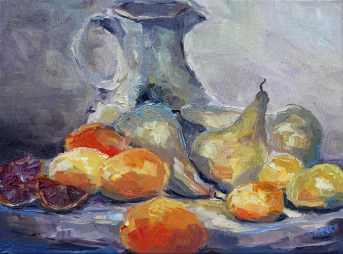 Wine vase pears lemons and blood oranges resting 12 x 16 inch oil on canvas by Terrill Welch 2013_02_10 015