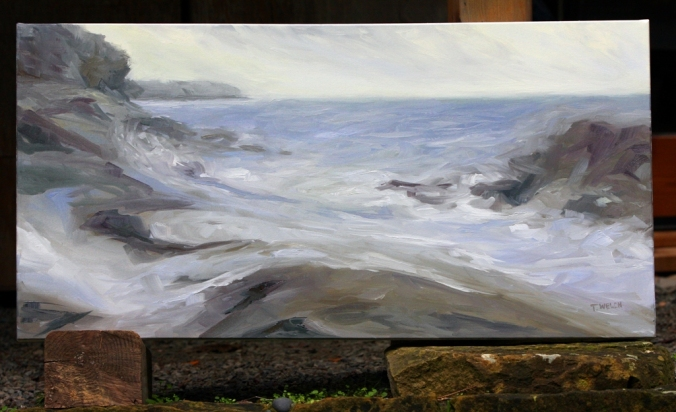 Rhythm of the Sea 20 x 40 inch work  in progress oil on canvas by Terrill Welch 2013_03_13 009