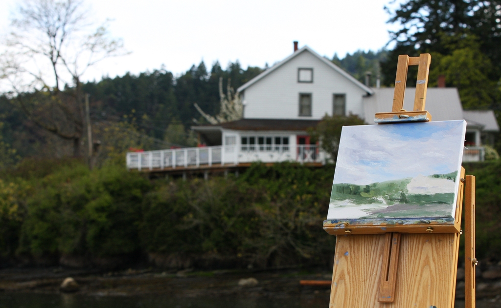 Beginning of Spring at the Springwater Lodge plein air by Terrill Welch 2013_04_14 076