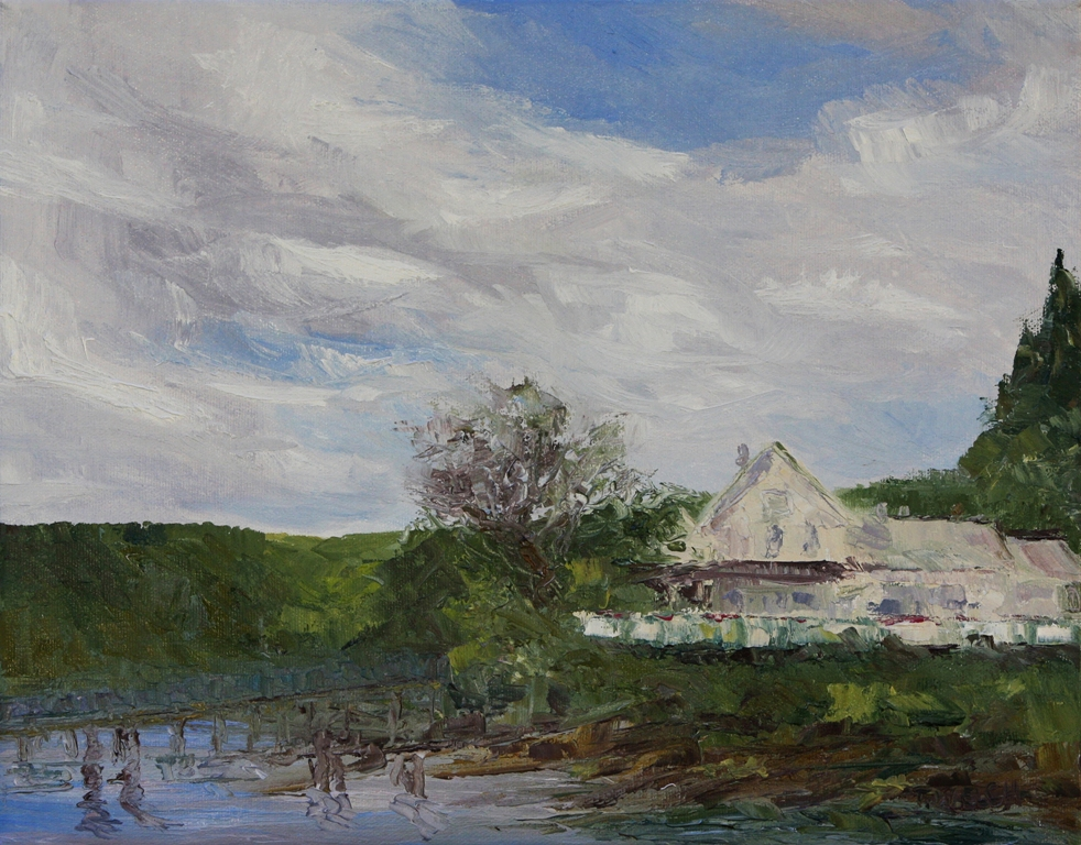 Spring at the Springwater Lodge Mayne Island resting 11 x 14 inch oil on canvas plein air by Terrill Welch 2013_04_14 154