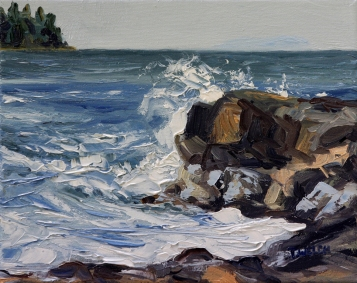 End of Storm Georgina Point Mayne Island resting 8 x 10 oil on canvas by Terrill Welch 2013_06_06 024