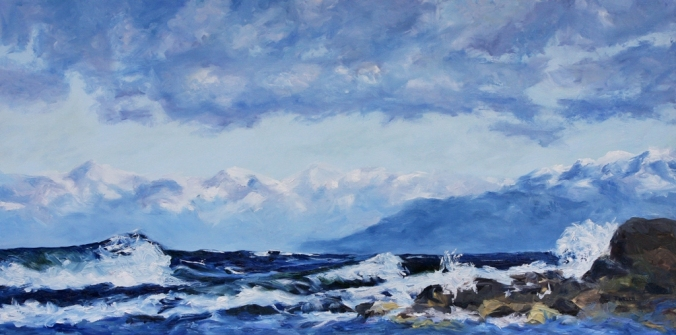 10 West Coast Blues rolling waves Oyster Bay resting 36 x 72 inch oil on canvas by Terrill Welch 2013_06_28 009