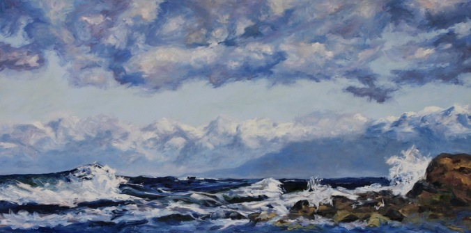 19 West Coast Blues rolling waves Oyster Bay 36 x 72 inch oil on canvas by Terrill Welch 2013_07_16 055