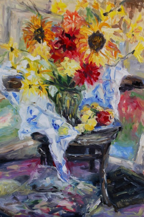 August Stilllife with Cezanne and Matisse resting II 24 x 36 inch oil on canvasby Terrill Welch 2013_08_13 132