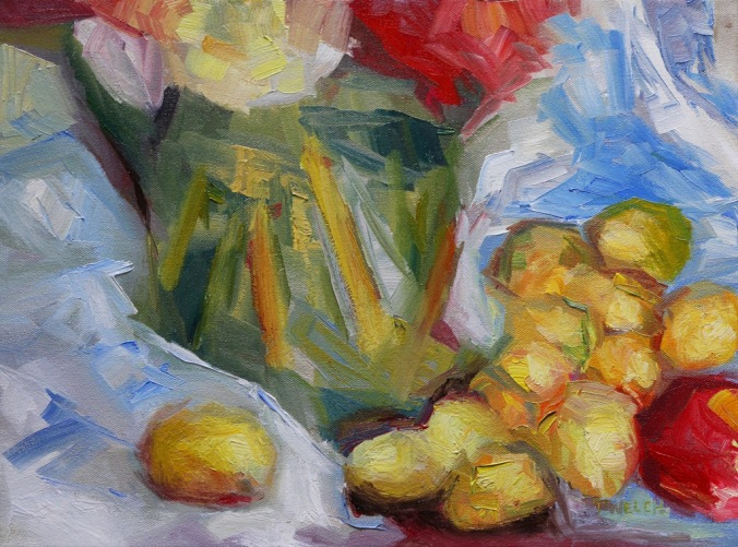 golden plums an apple and green vase resting 12 x 16 inch oil on canvas by Terrill Welch 2013_08_14 075