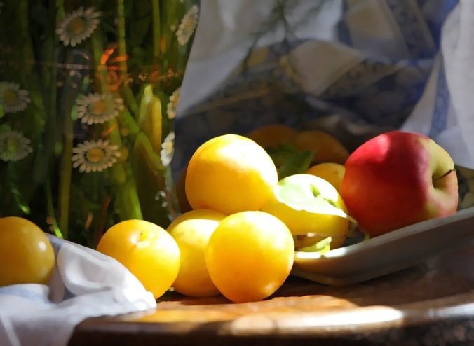 Golden Plums and an Apple painterly by Terrill Welch 2013_08_12 134