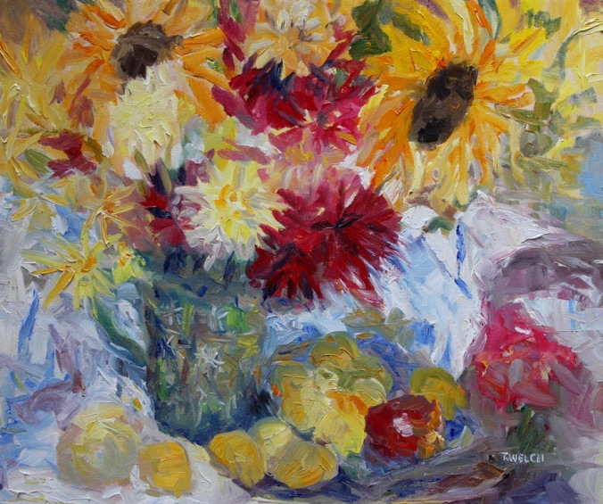 Plums Apples and mostly sunflowers resting 20 x 24 inch oil on canvas by Terrill Welch 2013_08_14 058