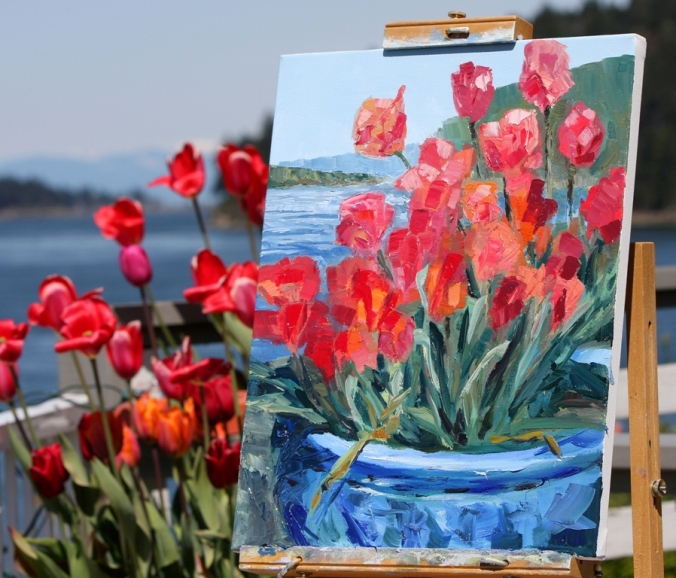 Tulips Springwater Deck Mayne Island work in progress 20 x 16 inch oil on canvas plein air by Terrill Welch 3013_04_22 067