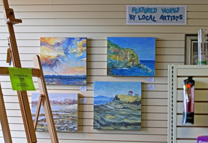 Four paintings Sept 2013 Island Blue Art Store in Sidney B C by Terrill Welch 2013_09_04 014