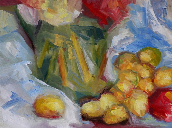 golden plums an apple and green vase 12 x 16 inch oil on canvas by Terrill Welch 2013_08_23 058