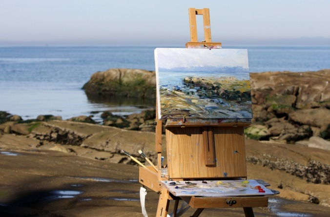plein air Chasing October Sun by the Sea 12 x 16 inch oil on canvas by Terrill Welch 2013_10_06 051