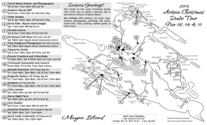2013 Mayne Island Artisan Christmas Studio Tour Map