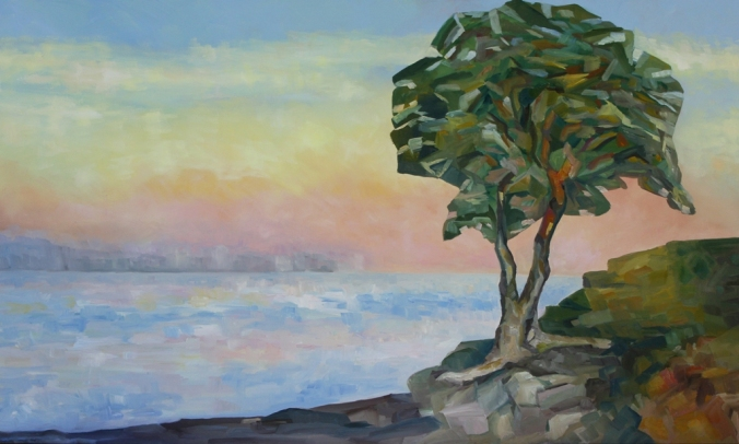 Evening and the Arbutus Tree 36 x 60 inch oil on canvas by Terrill Welch 2013_04_16 092