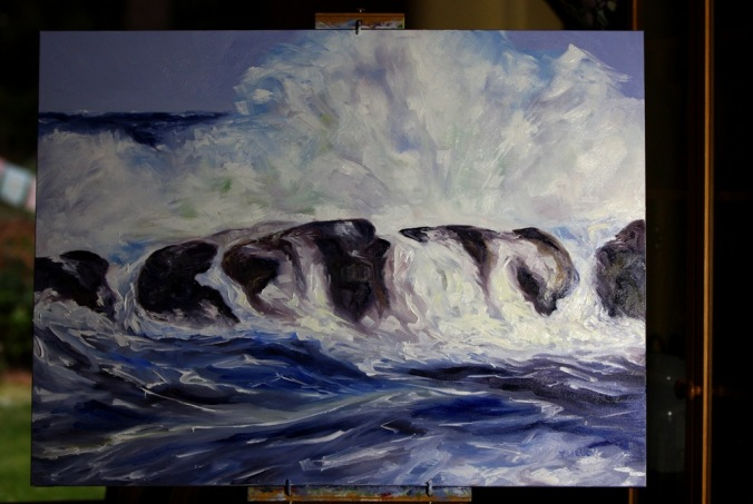 Storm Watching 30 x 40 inch oil on canvas still on easel by Terrill Welch 2013_12_09 034