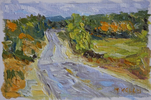 Walking an Autumn Road 4 x 6 inch oil on canvas paper by Terrill Welch 2014_01_19 045