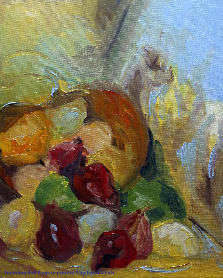 Tumbling Red Pears in process 4 by Terrill Welch 2014_02_26 036