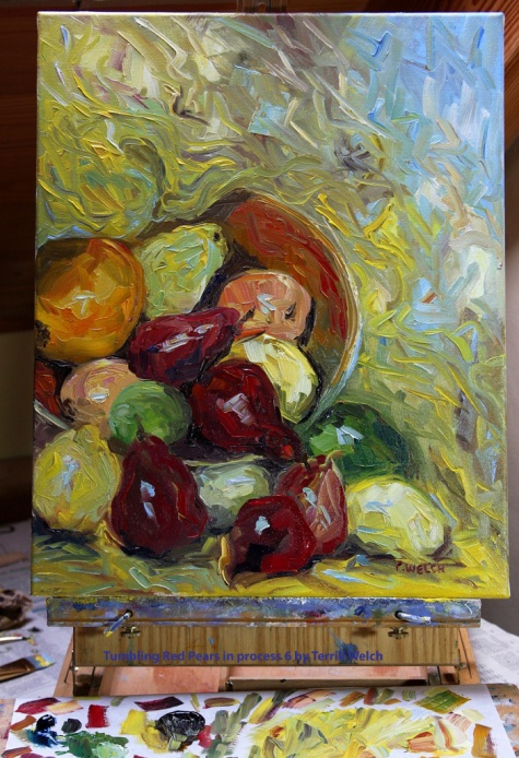 Tumbling Red Pears in process 6 by Terrill Welch 2014_02_26 062