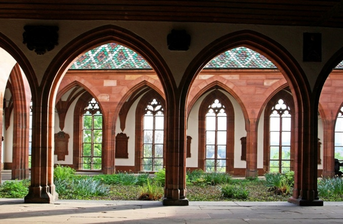 Basel Minster courtyard and windows to the Rhine river by Terrill Welch 2014_04_13 074