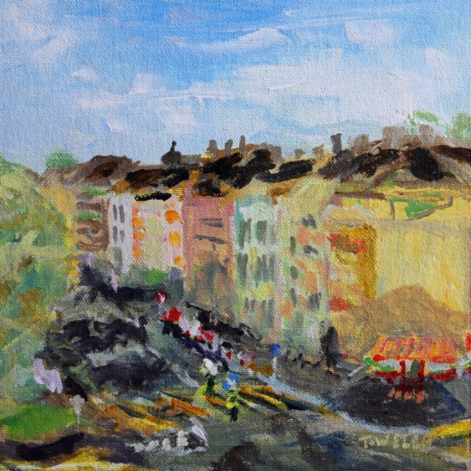from the balcony of an apartment in Basel Switzerland 8 x 8 acrylic painting sketch by Terrill Welch 2014_04_18 065