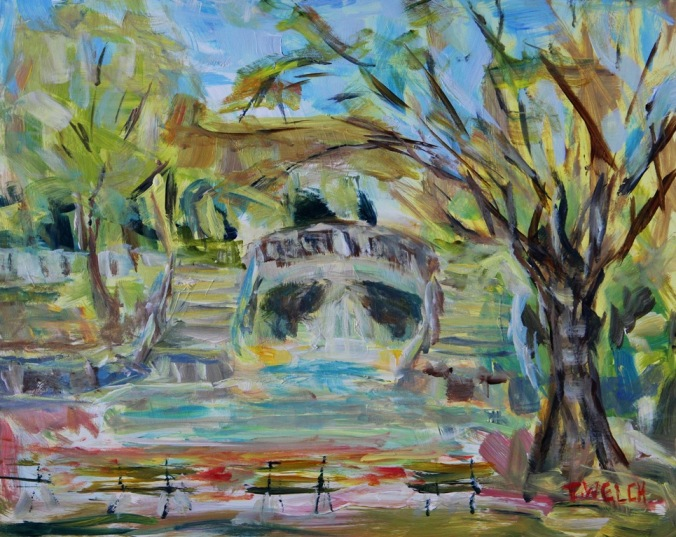 Park Darcy in April Dijon France 8 x 10 acrylic plein air sketch gessobord  by Terrill Welch 2014_04_08 Dijon France 063