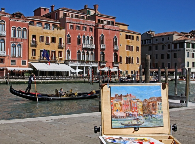 Plein air painting along the Grand Canal in Venice Italy by Terrill Welch 2014_04_17 030