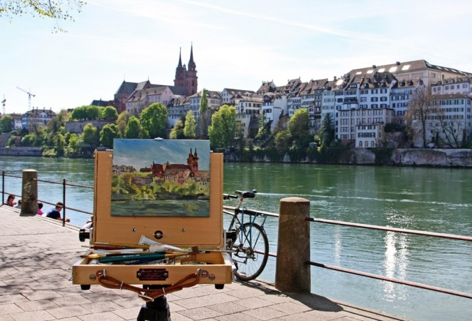 plein air painting by the Rhine river Basel Switzerland by Terrill Welch 2014_04_08 102
