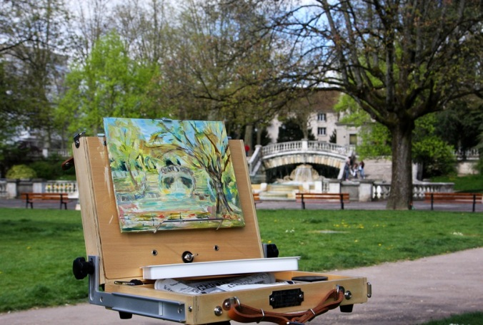 plein air sketching Park Darcy in April Dijon France by Terrill Welch 2014_04_08 Dijon France 058