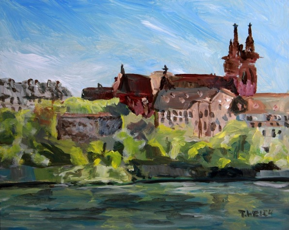Rhine River Basel Switzerland 8 x 10 inch acrylic sketch by Terrill Welch 2014_04_18 067