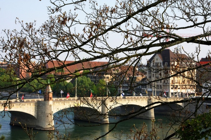 through branches is Mittlere Brücke the oldest bridge Basel Switzerland by Terrill Welch 2014_04_13 101