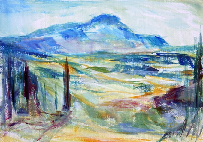 Cezanne's Mountain 25 x 35 cm 20 minute acrylic plein air painting sketch by Terrill Welch 2014_05_18 139