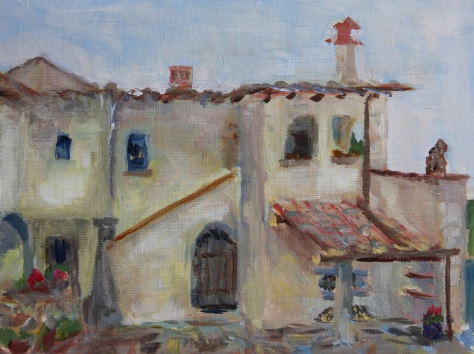 Farmhouse courtyard Florence Italy 18 x 24 cm acrylic painting sketch on linen finished panting block by Terrill Welch 2014_04_27 004