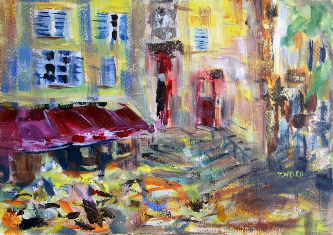 From the White Room Aix en Provence 25 x 35 cm acrylic painting sketch by Terrill Welch 2014_05_18 069
