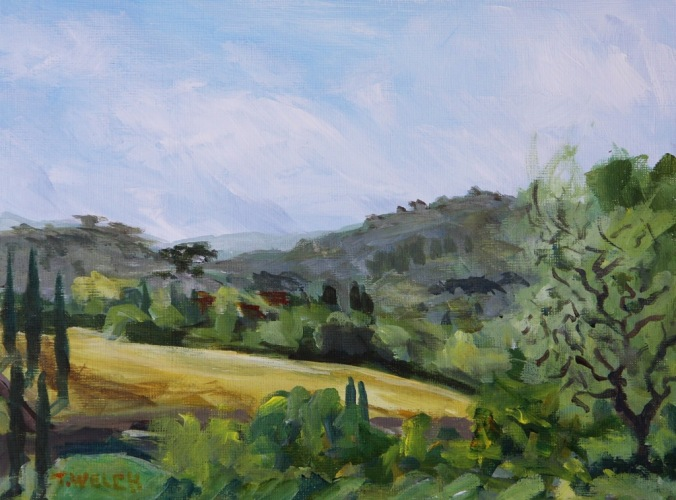 Galluzzo Valley in southern part of Florence Italy 18 x 24 cm acrylic sketch on linen finished paint block by Terrill Welch 2014_04_25 145