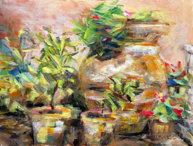 garden pots 18 x 24 cm plein air acrylic painting sketch on linen finished painting block by Terrill Welch 2014_04_29 030