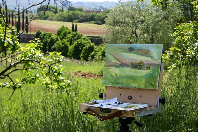 olive tree in progress 2 25 x 35 cm acrylic on 185 lb coldpress archival paperby Terrill Welch 2014_05_06 038