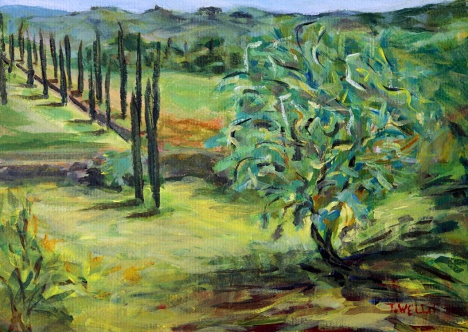 olive tree in25 x 35 cm acrylic plein air on 185 lb coldpress archival paperby Terrill Welch 2014_05_06 052