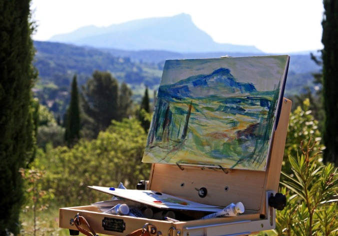 plein air of Cezanne's Mountain 25 x 35 cm acrylic painting sketch by Terrill Welch 2014_05_18 123