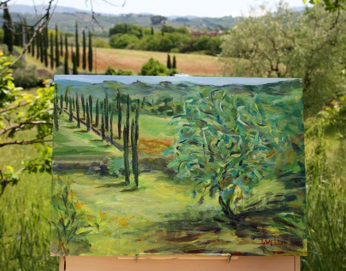 plein air painting of olive tree  25 x 35 cm acrylic on 185 lb coldpress archival paperby Terrill Welch 2014_05_06 045