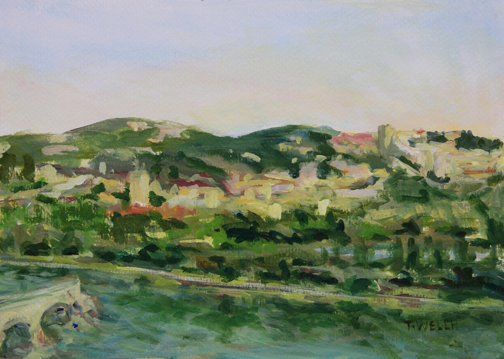 Across the Way Villeneuve lez Avignon France 25 x 35 cm acrylic painting sketch by Terrill Welch 2014_06_012 106
