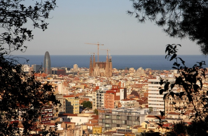 Barcelona Spain through the trees by Terrill Welch 2014_05_25 050