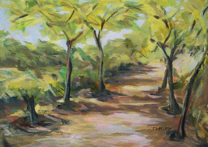 Jardins del  Turó del Putget Barcelona Spain 25 x 35 cm plein air acrylic painting sketch by Terrill Welch 2014_06_02 028